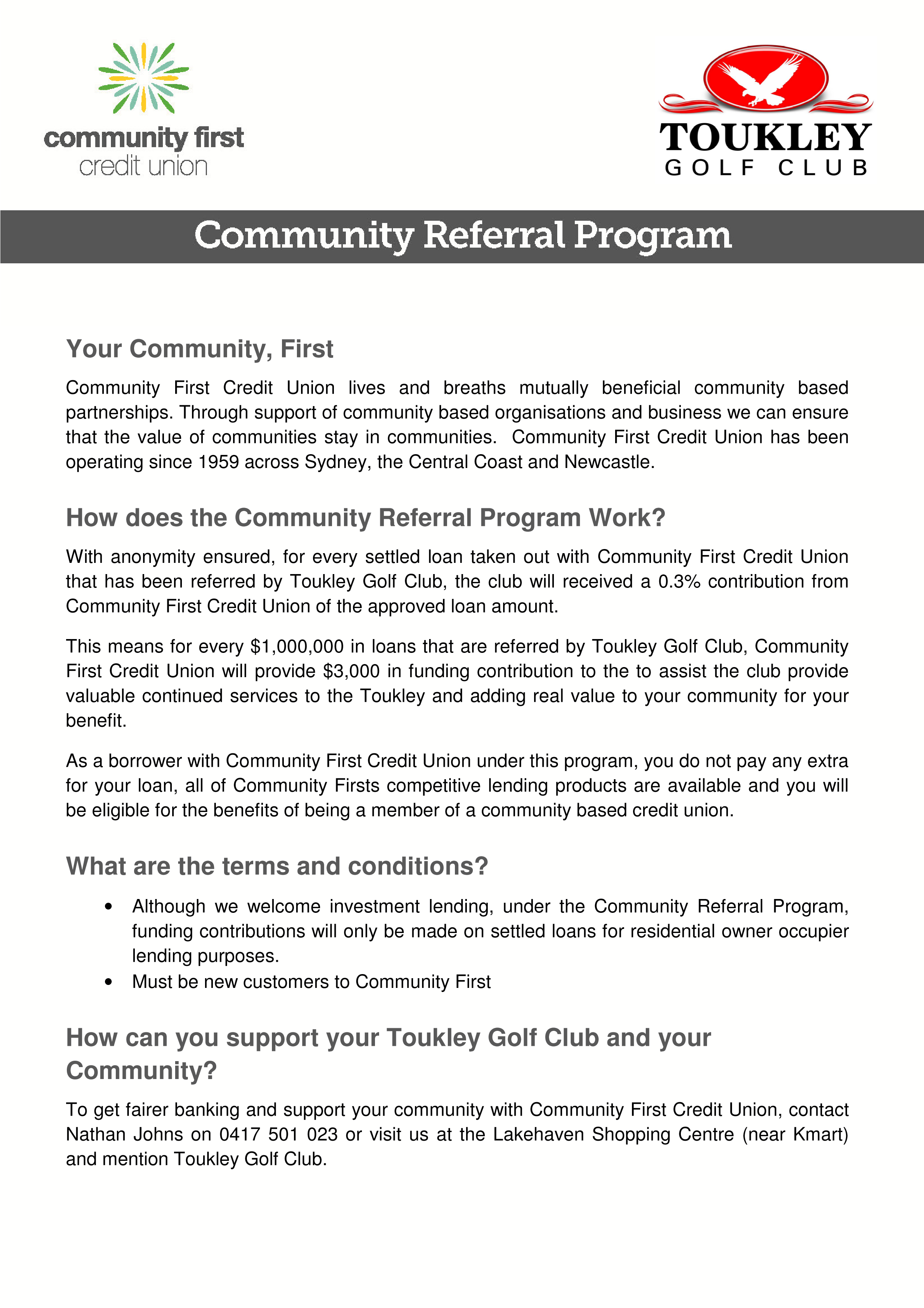 Community First Credit Union - Referral Program - Toukley Golf Club